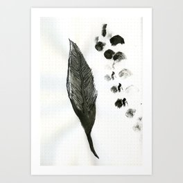 feather and finger prints Art Print