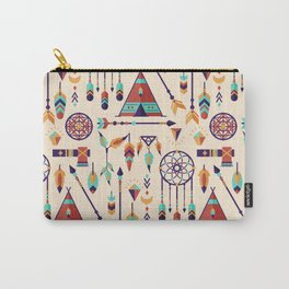 Aztec Tribal Seamless Pattern wiht Dreamcatcher and Arrows Carry-All Pouch