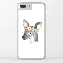 Floral Deer Clear iPhone Case