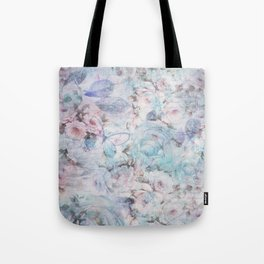 Shabby vintage pastel pink teal floral butterfly typography Tote Bag