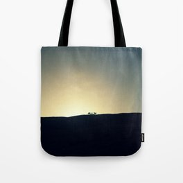 Sunset with horses Tote Bag