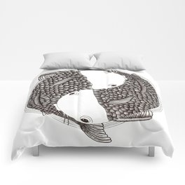 Pisces - Fish Koi - Japanese Tattoo Style (black and white) Comforters