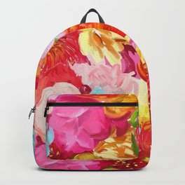 Red And Orange Flowers On Pink Background Backpack