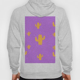 Mustard Cactus White Poka Dots in Purple Background Pattern Hoody