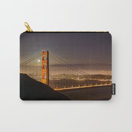 GOLDEN GATE BRIDGE & MOON PHOTO - SAN FRANCISCO NIGHT IMAGE - CALIFORNIA PICTURE - CITY PHOTOGRAPHY Carry-All Pouch