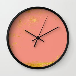 Coral gold grunge Wall Clock