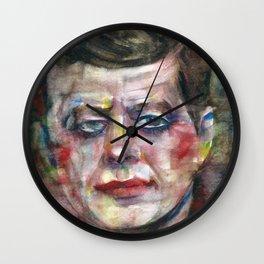 JOHN F. KENNEDY - watercolor portrait Wall Clock