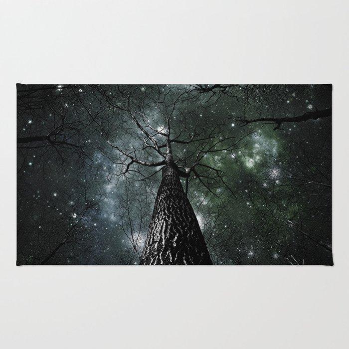 Wintry Trees Galaxy Skies Dark Green Slate Blue Rug