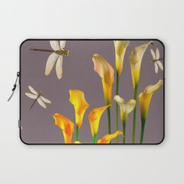 GOLD CALLA LILIES & DRAGONFLIES ON GREY Laptop Sleeve