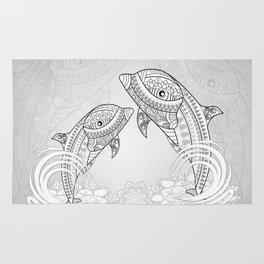 Beautiful dolphin, mandala design Rug