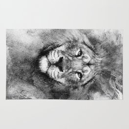Lion Black and White Rug