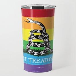 Gadsden flag LGBT Don't tread on me Libertarian rainbow flag Travel Mug