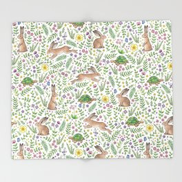 Spring Time Tortoises and Hares Throw Blanket