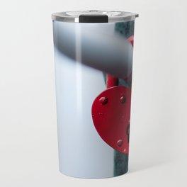Red Heart Lock Travel Mug