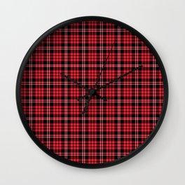 Red & Black Tartan Plaid Pattern Wall Clock