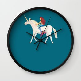 Red Haired Mermaid Rides the Unicorn Wall Clock