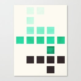 Colorful Teal Turquoise Green Mid Century Modern Minimalist Square Geometric Pattern Canvas Print