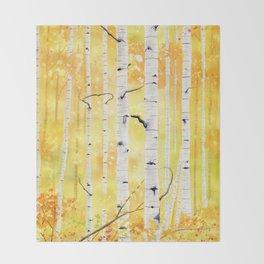 Autumn Birch Throw Blanket