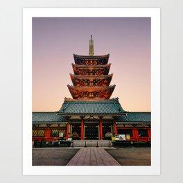 Five-Storied Pagoda at Sensoji Temple Fine Art Print Art Print