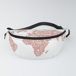 Rose Gold Glitter World Map Fanny Pack