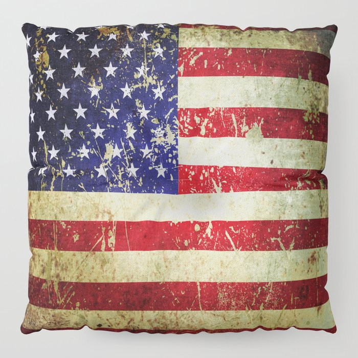 Grunge Vintage Aged American Flag Floor Pillow