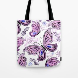 Colorful Butterflies and Flowers V12 Tote Bag