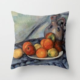 Paul Cézanne - Fruit and a Jug on a Table Throw Pillow