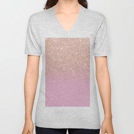 Rose gold glitter ombre on sweet lilac Unisex V-Neck