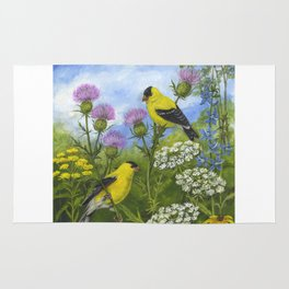Goldfinches and Thistle Rug