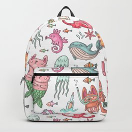Hand painted pink teal nautical coral fish pattern Backpack