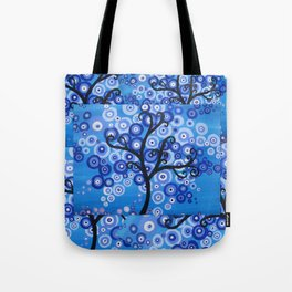 blue sea, tree of life - shades of blue with bubble leaves Tote Bag