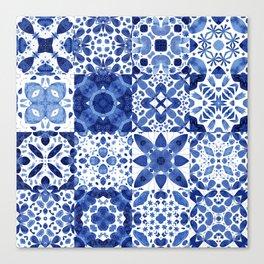 Indigo Watercolor Tiles Canvas Print