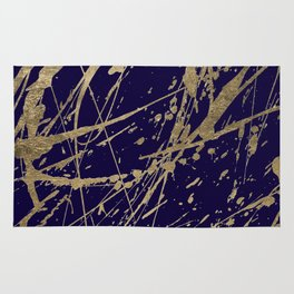 Elegant faux gold modern navy blue paint splatters Rug