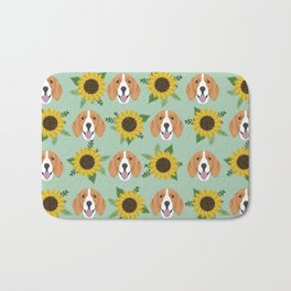 Beagles pattern floral sunflowers dog breed beagle art pet portrait pet friendly dog art Bath Mat