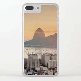 View over Botafogo towards the Sugarloaf Mountain at sunrise, Rio de Janeiro, Brazil Clear iPhone Case