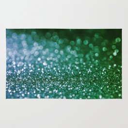 Aqua Glitter effect- Sparkling print in green and blue Rug