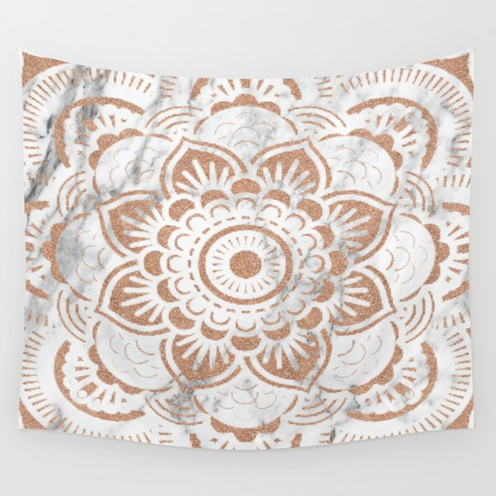 Rose Gold Marble Mandala Wall Tapestry