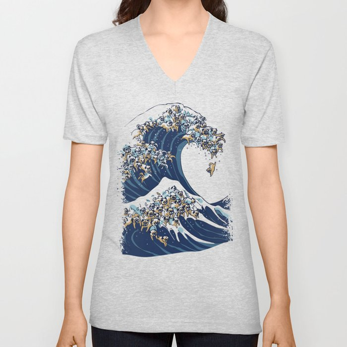 The Great Wave of Pugs Vanilla Sky Unisex V-Neck
