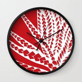 Red Polynesian Geometric Floral Chic Tribal Tattoo Wall Clock