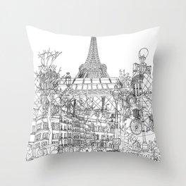 Paris! B&W Throw Pillow