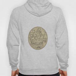 Medieval Monk Brewing Beer Oval Drawing Hoody