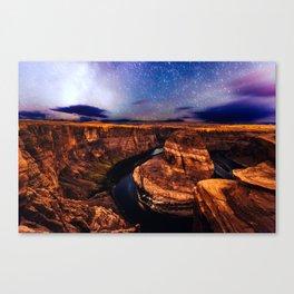 Horseshoe Bend Starseeds - Starry Sky Night at Grand Canyon Arizona Canvas Print