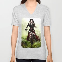 Lady knight - Warrior girl with sword concept art Unisex V-Neck