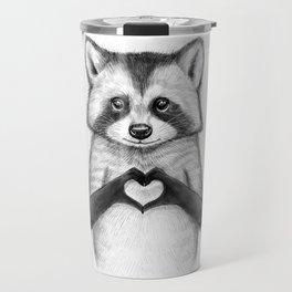 raccoon with heart Travel Mug