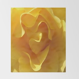 Yellow Rose Ruffles Abstract Throw Blanket