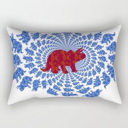 Dinosaur Fractal Print in Blue and Red Rectangular Pillow