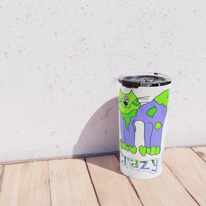 Crazy Cat Green Blue Earth Travel Mug