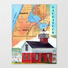 Map of Saugatuck Canvas Print