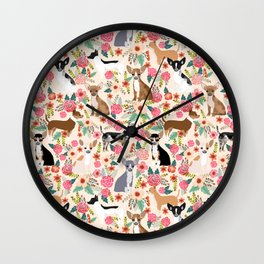 Chihuahua florals cute pastel dog breed must have gifts for small dog owner dog person pet portraits Wall Clock