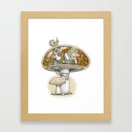 Mushroom Aliens inside the Mushroom Framed Art Print